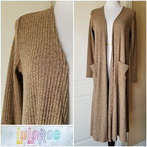 LuLaRoe Sarah Cardigan Heathered Brown Stretchy XS